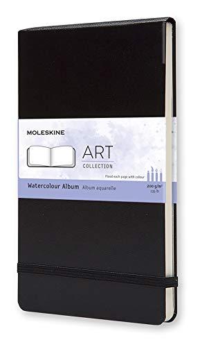 Moleskine Art Collection, Aquarell-Album (Zeichenheft, Hardcover, Papier geeignet für Aquarellstifte und Farben, Großformat 13 x 21 cm, 72 Seiten) schwarz