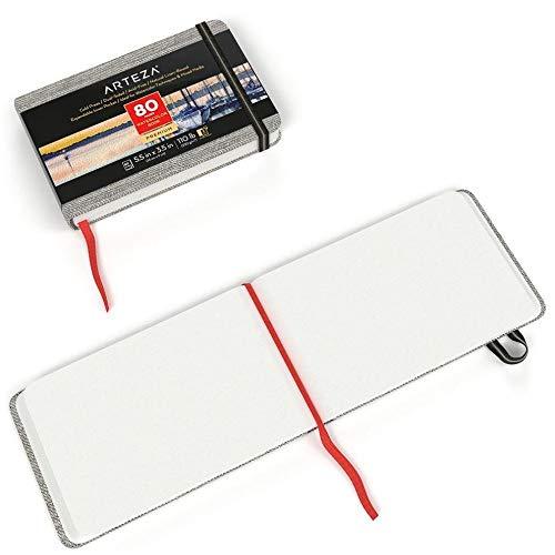 Arteza Aquarellbuch 9cm x 14cm, 3er-Pack mit jeweils 80 Seiten, 230g/m² kaltgepresstes säurefreies Aquarellpapier, gebunden in Leineneinband, für Aquarelltechniken und Mischtechnik