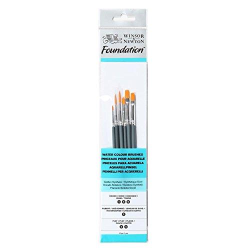 Winsor & Newton 5295016 Foundation Pinselsets, Aquarellpinsel, 6er Set, Runddpinsel Nr.1, 5, 6, Filbert Nr.2 - kurzer Stiel
