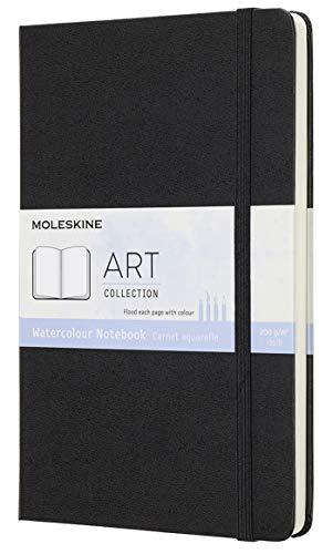Moleskine Art Collection Aquarell Notiz-/ Skizzenbuch Album zum Zeichnen (mit Hardcover, Papier geeignet für Aquarelle und Aquarellstifte, Groß 13 x 21 cm, 72 Seiten) schwarz