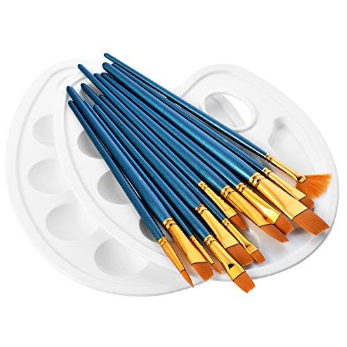 12 Künstlerpinsel, 2 Mischpalette, Premium Nylon Pinsel für Aquarell, Acryl & Ölgemälde usw. Perfektes Pinsel Set für Anfänger, Kinder, Künstler und Gemälde Liebhaber