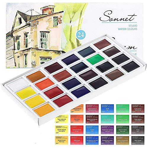 Sonnet Aquarellfarbkasten Set - 24 kräftige Aquarellfarben - Hochwertige Wasserfarben von Nevskaya Palitra