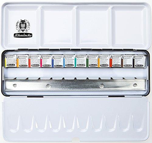 Schmincke Aquarellfarbe, Akademie Aquarell Malkasten, Metallkasten, 12 x 1/2 Näpfchen + Platz für 12 weitere 1/2 Näpfchen