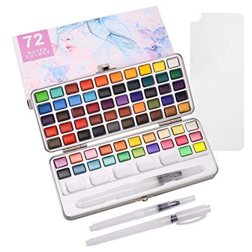 ZITFRI Aquarellfarben 72 Wasserfarben Set - Aquarellfarben Kasten mit 2 Aquarellpinsel - 50 Aquarellfarbe + 22 Metallic Farben- Aquarellfarbkasten Set Tragbar Malkasten für Anfänger und Profis