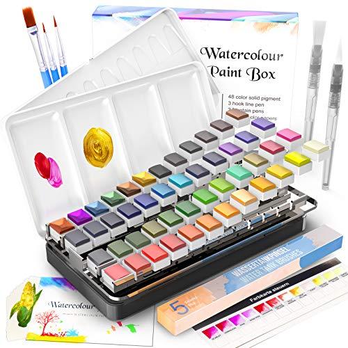 Aquarellfarben Set, RATEL Aquarell Malkasten Inklusive 48 Farben Festes Pigment + 3 Pinsel + 2 Wassertankpinsel + 10 Aquarellpapiere - wasserlöslich und gut mischbar Aquarell-Farben-Set