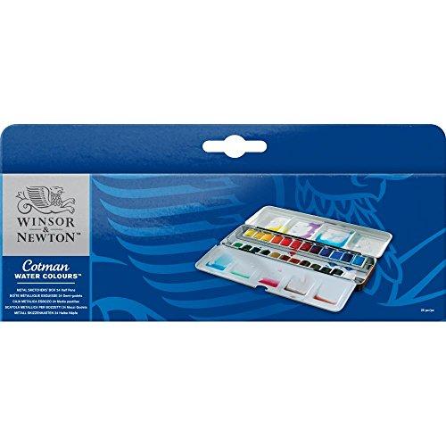 Winsor & Newton Aquarellfarbe, 24 Farben, Metall-Aquarellkasten