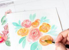 Mini-Anleitung: lose Rosen in Aquarell malen