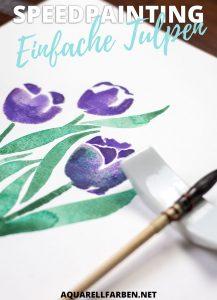 Schau dir in meinem Speedpainting ab, wie man ganz leicht Tulpen mit Aquarell malen kann!