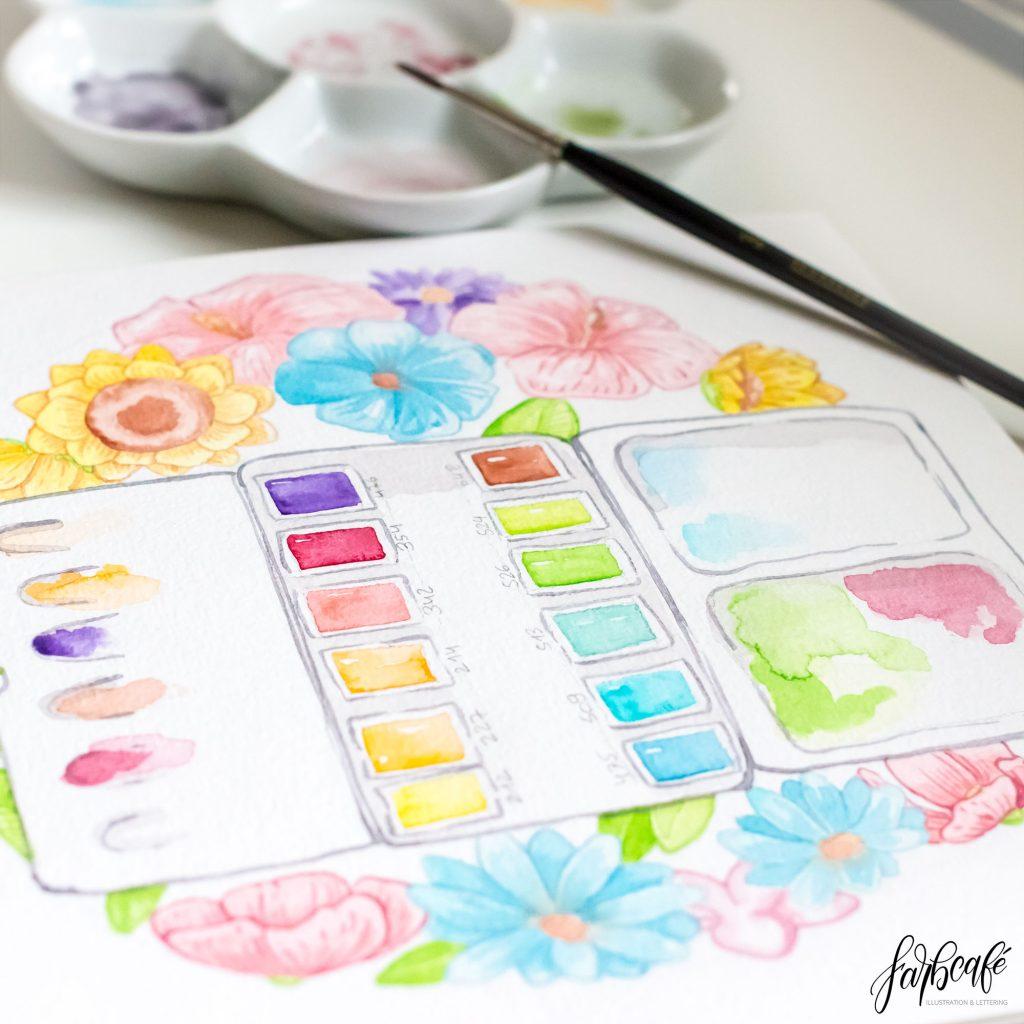 Aquarellkasten gemalt in Aquarell mit Blumen