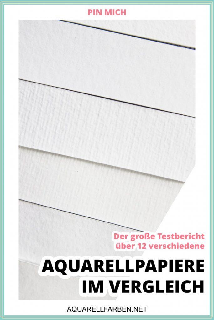 Pin für Pinterest über den Artikel Aquarellpapiere im Vergleich mit einer Nahaufnahme verschiedener Aquarellpapier-Oberflächen